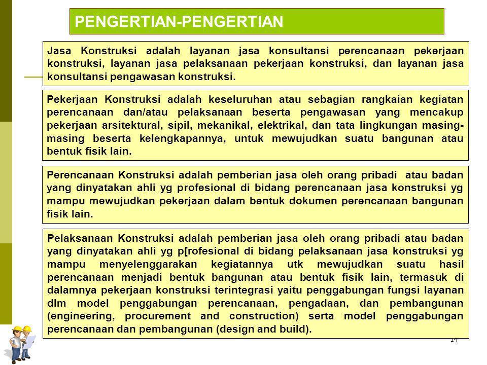 14 PENGERTIAN-PENGERTIAN Jasa Konstruksi adalah layanan jasa konsultansi perencanaan pekerjaan konstruksi, layanan jasa pelaksanaan pekerjaan konstruk
