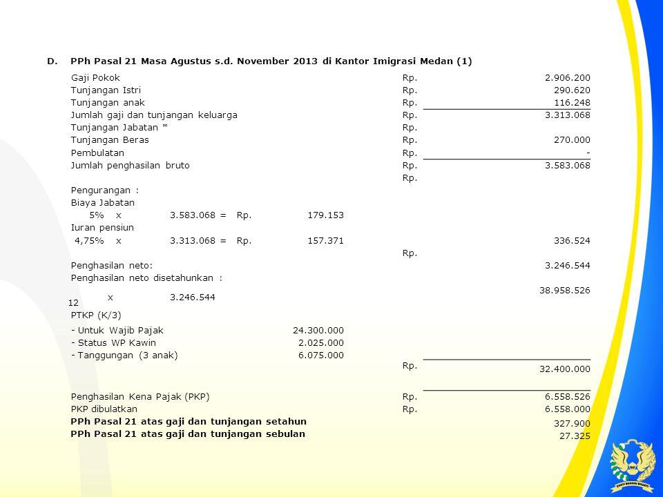 D. PPh Pasal 21 Masa Agustus s.d. November 2013 di Kantor Imigrasi Medan (1) Gaji Pokok Rp. 2.906.200 Tunjangan Istri Rp. 290.620 Tunjangan anak Rp. 1