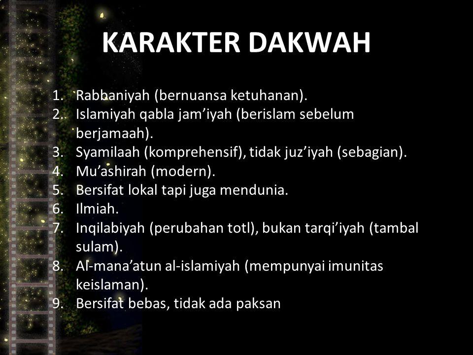 KARAKTER DAKWAH 1.Rabbaniyah (bernuansa ketuhanan).