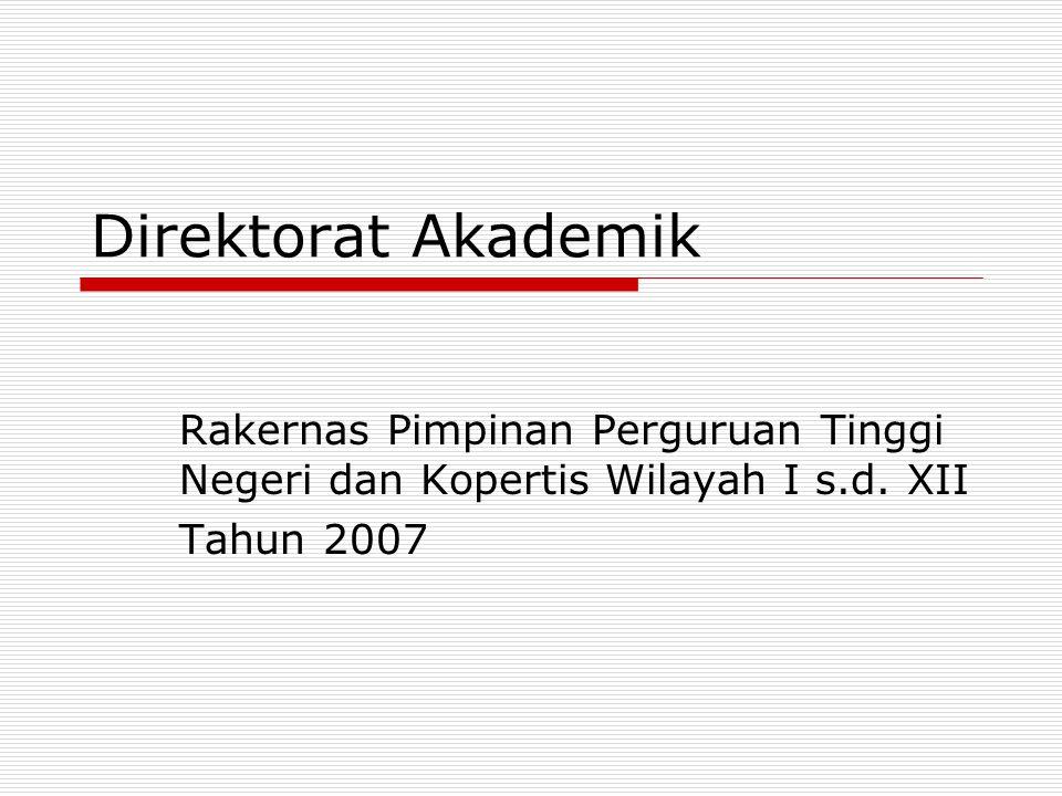 Direktorat Akademik Rakernas Pimpinan Perguruan Tinggi Negeri dan Kopertis Wilayah I s.d. XII Tahun 2007