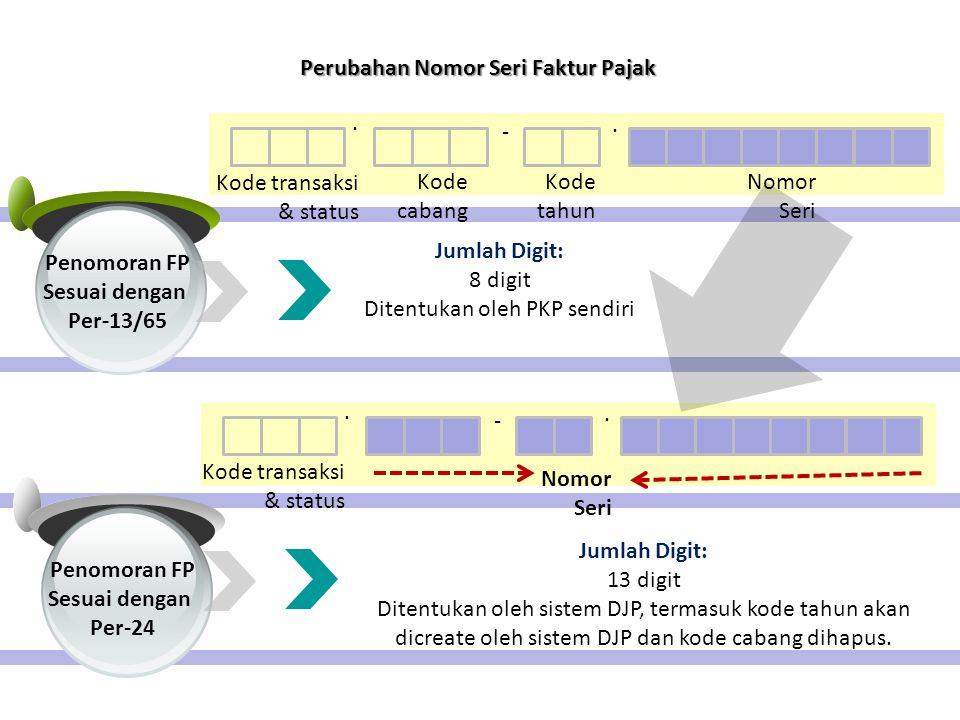 Penomoran FP Sesuai dengan Per-24 Penomoran FP Sesuai dengan Per-13/65.. - Kode transaksi & status Kode cabang Kode tahun Nomor Seri Jumlah Digit: 8 d