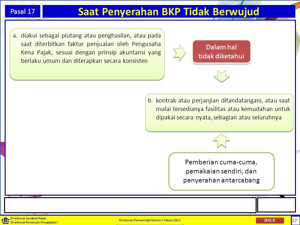 17 Direktorat Jenderal Pajak Direktorat Peraturan Perpajakan I Peraturan Pemerintah Nomor 1 Tahun 2012 17 Pasal 17 Saat Penyerahan BKP Tidak Berwujud