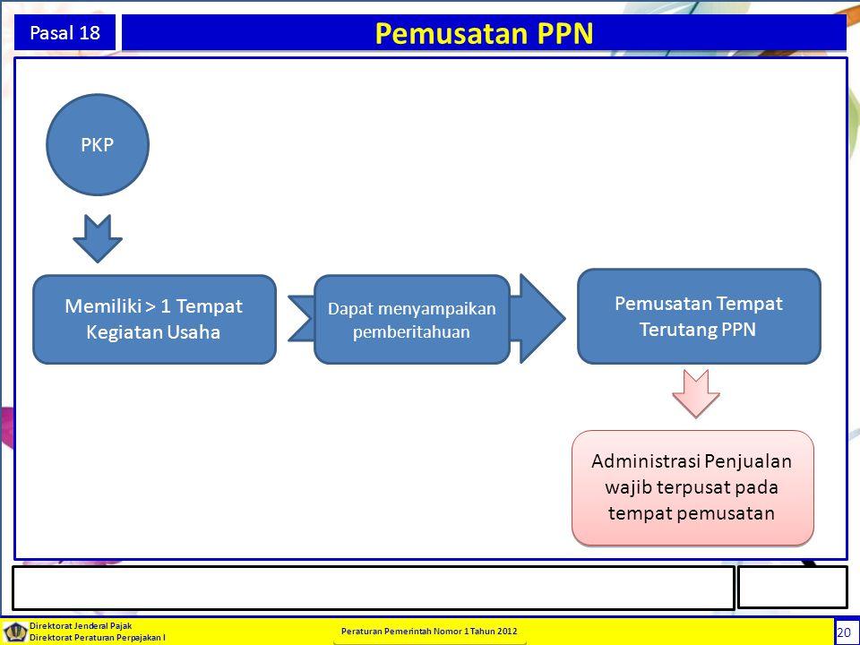 20 Direktorat Jenderal Pajak Direktorat Peraturan Perpajakan I Peraturan Pemerintah Nomor 1 Tahun 2012 20 Pasal 18 Pemusatan PPN PKP Memiliki > 1 Temp