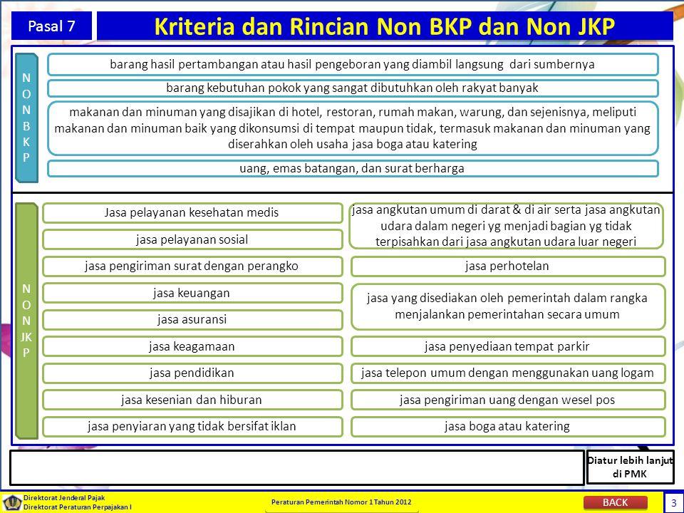 3 Direktorat Jenderal Pajak Direktorat Peraturan Perpajakan I Peraturan Pemerintah Nomor 1 Tahun 2012 3 Pasal 7 Kriteria dan Rincian Non BKP dan Non J