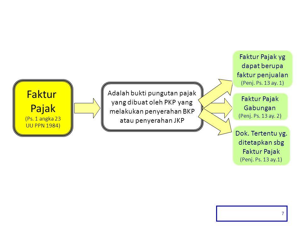 7 Faktur Pajak (Ps. 1 angka 23 UU PPN 1984) Adalah bukti pungutan pajak yang dibuat oleh PKP yang melakukan penyerahan BKP atau penyerahan JKP Faktur