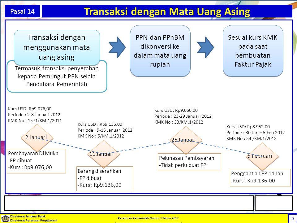9 Direktorat Jenderal Pajak Direktorat Peraturan Perpajakan I Peraturan Pemerintah Nomor 1 Tahun 2012 9 Pasal 14 Transaksi dengan Mata Uang Asing PPN