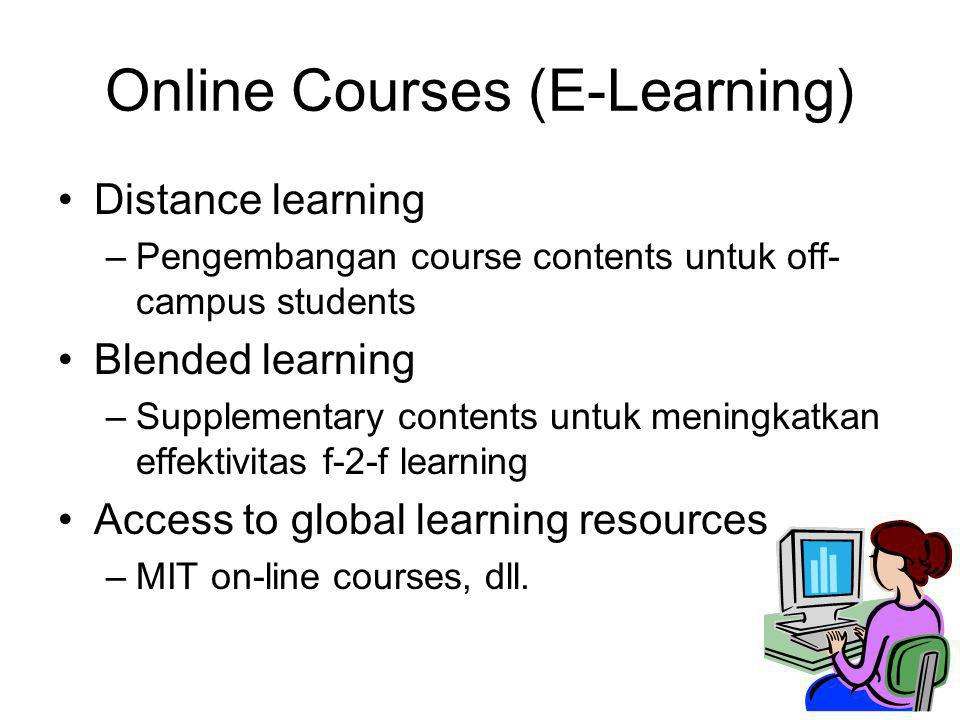 Online Courses (E-Learning) Distance learning –Pengembangan course contents untuk off- campus students Blended learning –Supplementary contents untuk