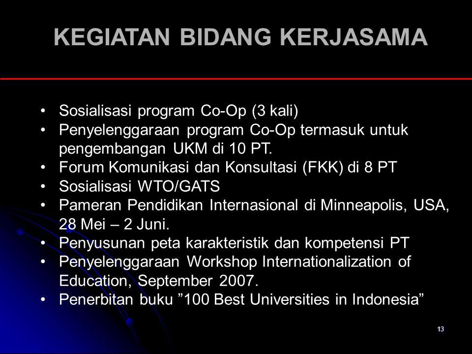 13 KEGIATAN BIDANG KERJASAMA Sosialisasi program Co-Op (3 kali) Penyelenggaraan program Co-Op termasuk untuk pengembangan UKM di 10 PT. Forum Komunika