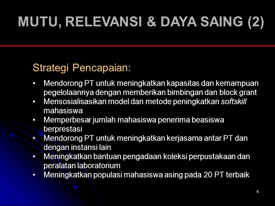 6 MUTU, RELEVANSI & DAYA SAING (2) Strategi Pencapaian: Mendorong PT untuk meningkatkan kapasitas dan kemampuan pegelolaannya dengan memberikan bimbin