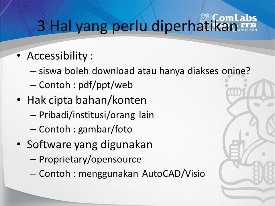 3 Hal yang perlu diperhatikan Accessibility : – siswa boleh download atau hanya diakses onine? – Contoh : pdf/ppt/web Hak cipta bahan/konten – Pribadi