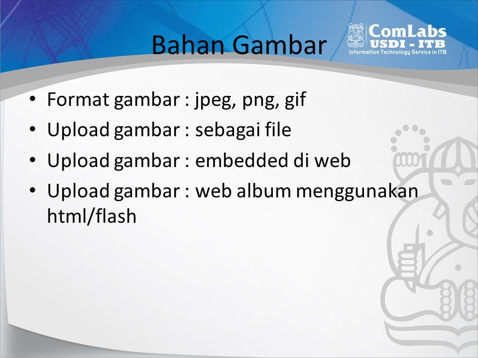 Bahan Gambar Format gambar : jpeg, png, gif Upload gambar : sebagai file Upload gambar : embedded di web Upload gambar : web album menggunakan html/fl