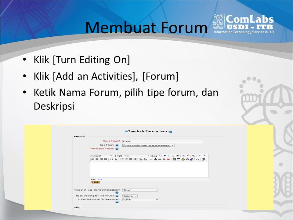 Menyimpan dan mem-publish Forum Klik [Save and return to course