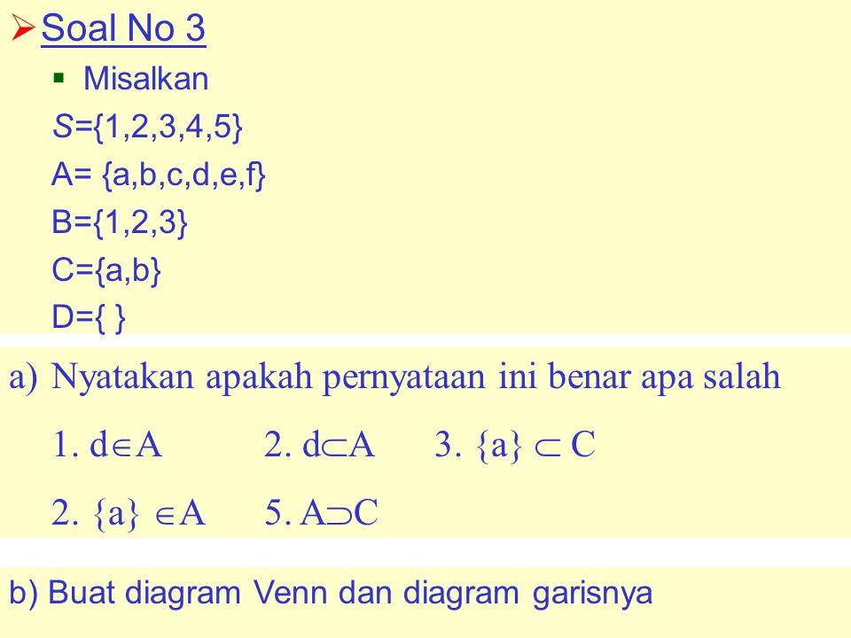  Soal No 3  Misalkan S={1,2,3,4,5} A= {a,b,c,d,e,f} B={1,2,3} C={a,b} D={ } b) Buat diagram Venn dan diagram garisnya a)Nyatakan apakah pernyataan ini benar apa salah 1.