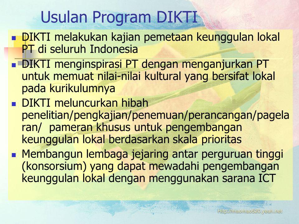 Usulan Program DIKTI DIKTI melakukan kajian pemetaan keunggulan lokal PT di seluruh Indonesia DIKTI menginspirasi PT dengan menganjurkan PT untuk memuat nilai-nilai kultural yang bersifat lokal pada kurikulumnya DIKTI meluncurkan hibah penelitian/pengkajian/penemuan/perancangan/pagela ran/ pameran khusus untuk pengembangan keunggulan lokal berdasarkan skala prioritas Membangun lembaga jejaring antar perguruan tinggi (konsorsium) yang dapat mewadahi pengembangan keunggulan lokal dengan menggunakan sarana ICT