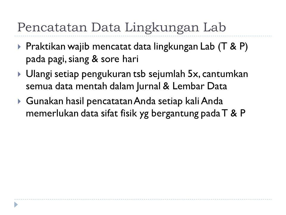 Pencatatan Data Lingkungan Lab  Praktikan wajib mencatat data lingkungan Lab (T & P) pada pagi, siang & sore hari  Ulangi setiap pengukuran tsb sejumlah 5x, cantumkan semua data mentah dalam Jurnal & Lembar Data  Gunakan hasil pencatatan Anda setiap kali Anda memerlukan data sifat fisik yg bergantung pada T & P