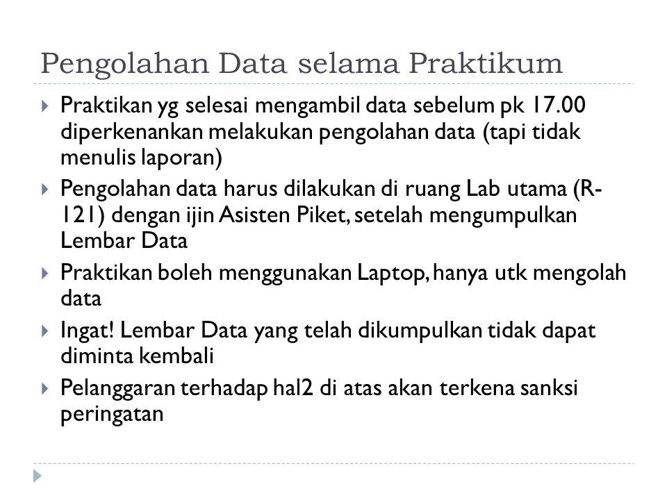 Pengolahan Data selama Praktikum  Praktikan yg selesai mengambil data sebelum pk 17.00 diperkenankan melakukan pengolahan data (tapi tidak menulis laporan)  Pengolahan data harus dilakukan di ruang Lab utama (R- 121) dengan ijin Asisten Piket, setelah mengumpulkan Lembar Data  Praktikan boleh menggunakan Laptop, hanya utk mengolah data  Ingat.