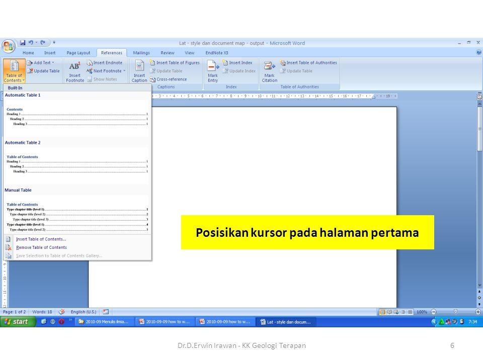 Posisikan kursor pada halaman pertama 6Dr.D.Erwin Irawan - KK Geologi Terapan