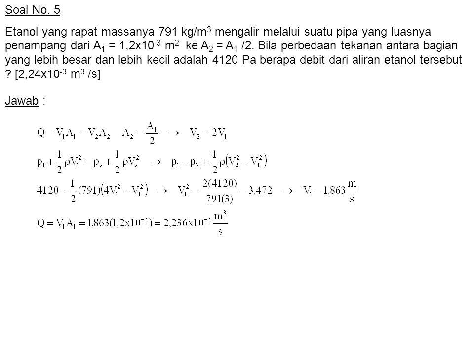 Soal No.6 Sebuah pipa berdiameter dalam 1 in.