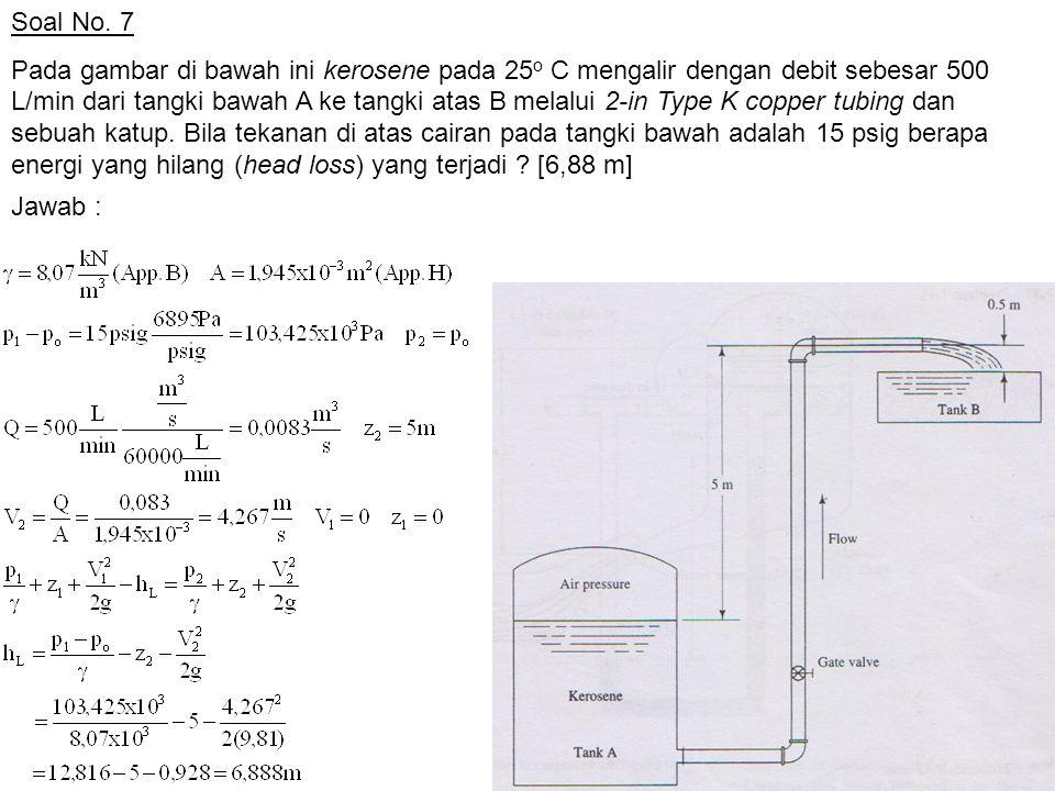 Soal No. 7 Pada gambar di bawah ini kerosene pada 25 o C mengalir dengan debit sebesar 500 L/min dari tangki bawah A ke tangki atas B melalui 2-in Typ