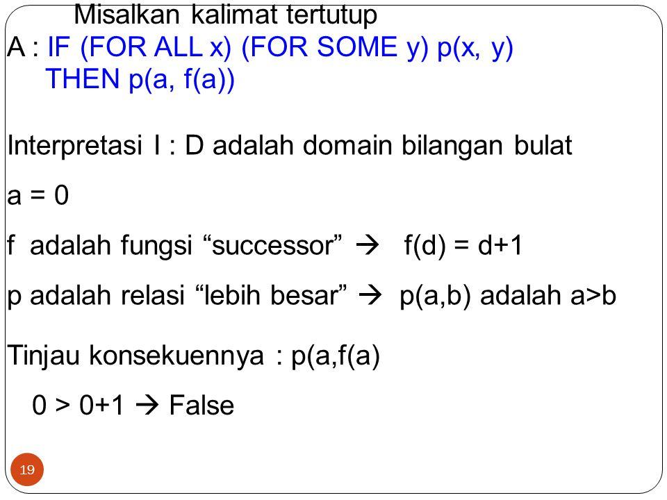 19 Misalkan kalimat tertutup A : IF (FOR ALL x) (FOR SOME y) p(x, y) THEN p(a, f(a)) Interpretasi I : D adalah domain bilangan bulat a = 0 f adalah fu