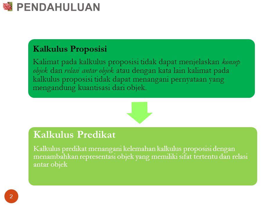 2 Kalkulus Proposisi Kalimat pada kalkulus proposisi tidak dapat menjelaskan konsep objek dan relasi antar objek atau dengan kata lain kalimat pada ka