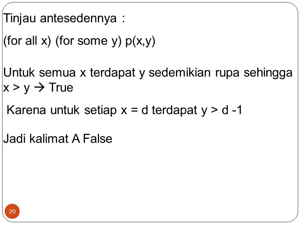 20 Tinjau antesedennya : (for all x) (for some y) p(x,y) Untuk semua x terdapat y sedemikian rupa sehingga x > y  True Karena untuk setiap x = d terd