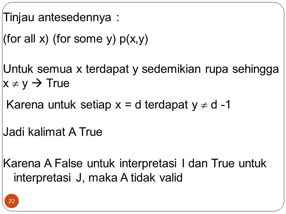 22 Tinjau antesedennya : (for all x) (for some y) p(x,y) Untuk semua x terdapat y sedemikian rupa sehingga x  y  True Karena untuk setiap x = d terd
