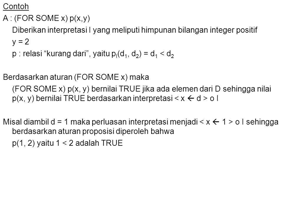 """Contoh A : (FOR SOME x) p(x,y) Diberikan interpretasi I yang meliputi himpunan bilangan integer positif y = 2 p : relasi """"kurang dari"""", yaitu p I (d 1"""