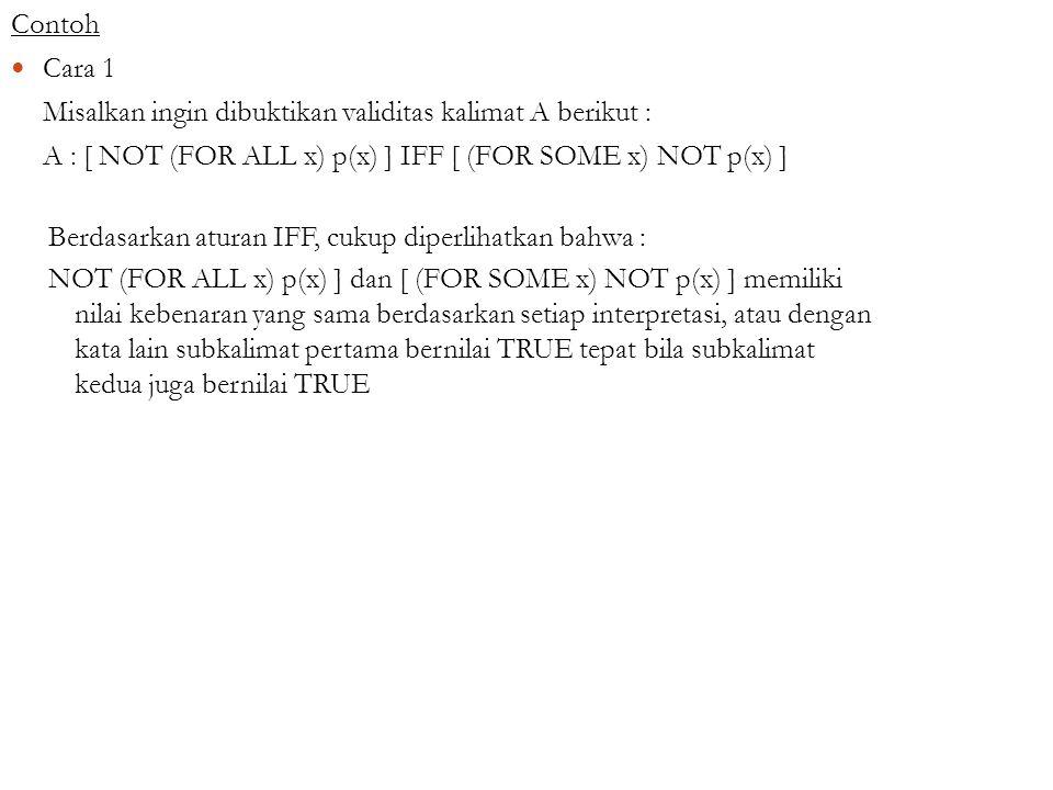 Contoh Cara 1 Misalkan ingin dibuktikan validitas kalimat A berikut : A : [ NOT (FOR ALL x) p(x) ] IFF [ (FOR SOME x) NOT p(x) ] Berdasarkan aturan IF