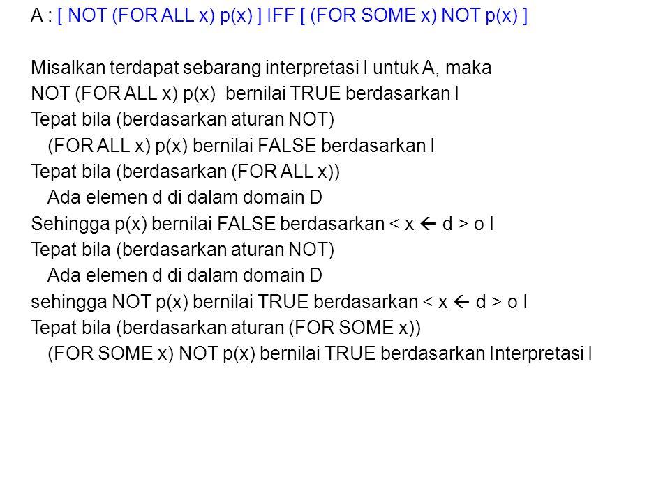 A : [ NOT (FOR ALL x) p(x) ] IFF [ (FOR SOME x) NOT p(x) ] Misalkan terdapat sebarang interpretasi I untuk A, maka NOT (FOR ALL x) p(x) bernilai TRUE