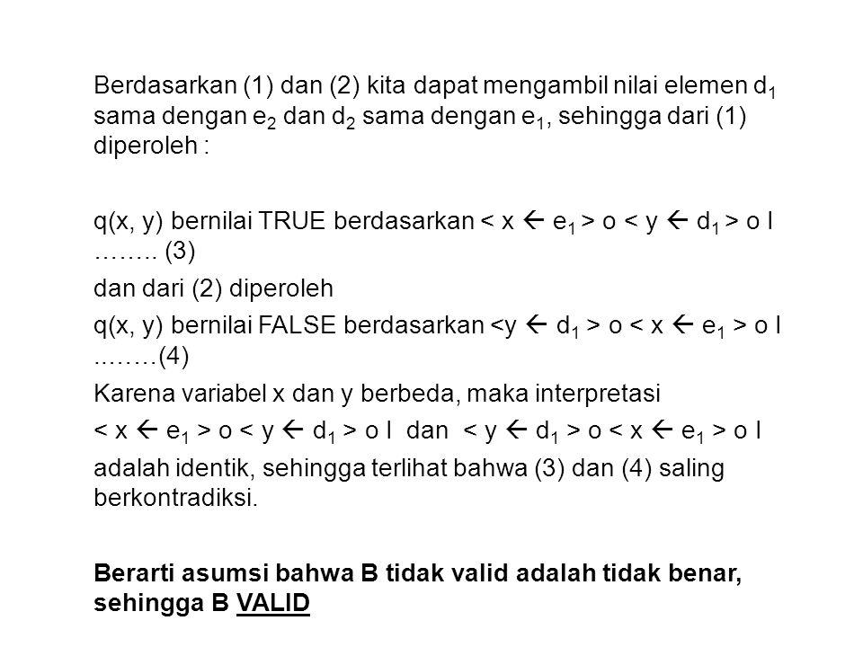 Berdasarkan (1) dan (2) kita dapat mengambil nilai elemen d 1 sama dengan e 2 dan d 2 sama dengan e 1, sehingga dari (1) diperoleh : q(x, y) bernilai