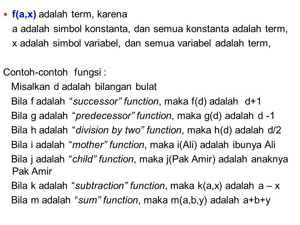 8 g(x, f(a)) adalah term, karena a adalah simbol konstanta, dan semua konstanta adalah term, x adalah simbol variabel, dan semua variabel adalah term, f dan g adalah simbol fungsi dan semua fungsi adalah term Bila f adalah arity -1 square root function dan g adalah arity - 2 sum function, maka g(x,f(a)) adalah x +  a