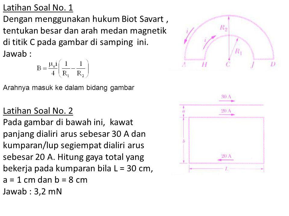 Latihan Soal No. 1 Dengan menggunakan hukum Biot Savart, tentukan besar dan arah medan magnetik di titik C pada gambar di samping ini. Jawab : Latihan