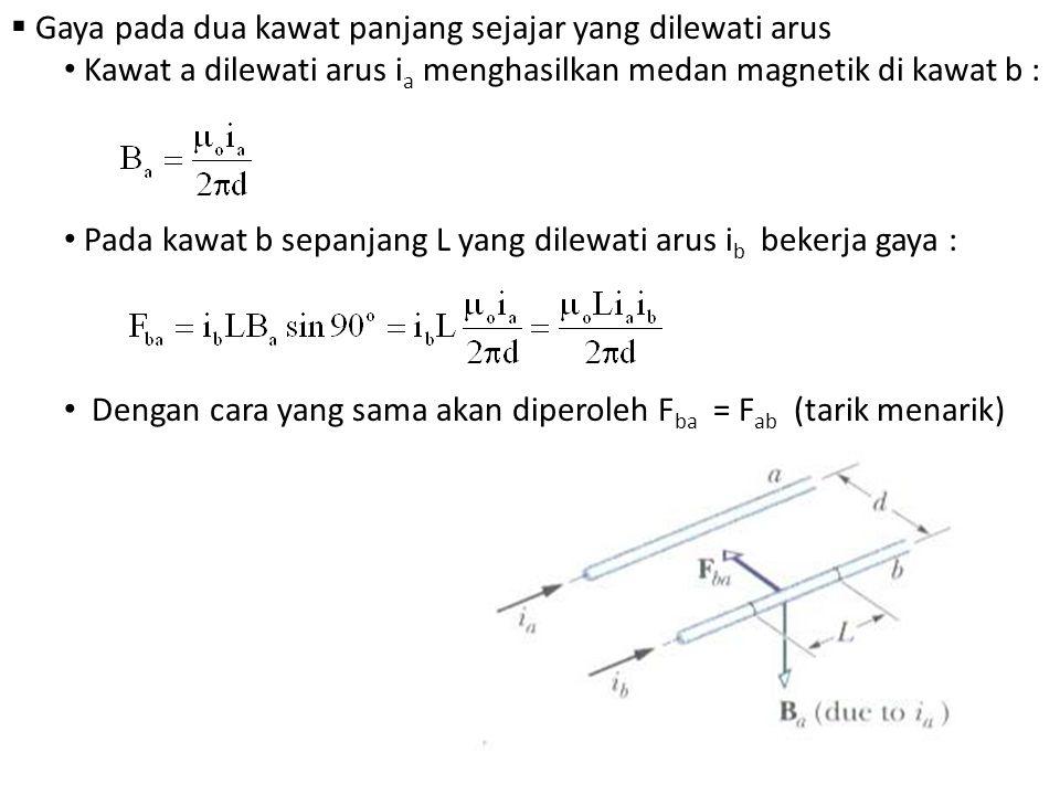  Gaya pada dua kawat panjang sejajar yang dilewati arus Kawat a dilewati arus i a menghasilkan medan magnetik di kawat b : Pada kawat b sepanjang L y