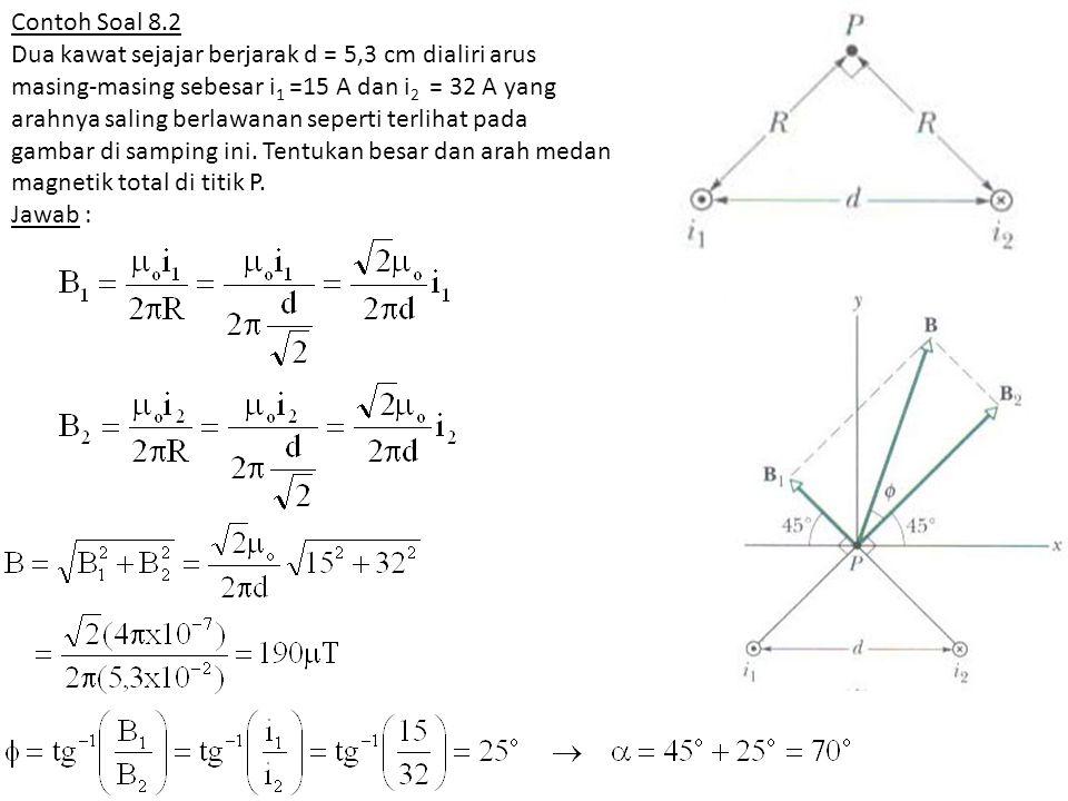 Contoh Soal 8.2 Dua kawat sejajar berjarak d = 5,3 cm dialiri arus masing-masing sebesar i 1 =15 A dan i 2 = 32 A yang arahnya saling berlawanan seper