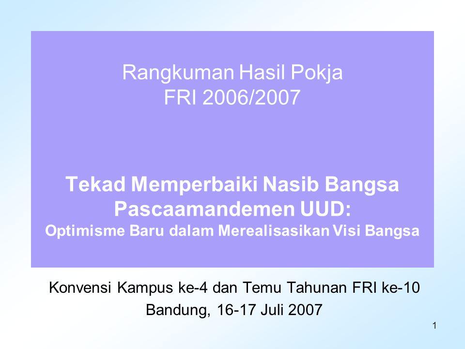 2 Pengantar Konvensi Kampus Pertama 20-22 Mei 2004 di Universitas Gadjah Mada: Konvensi Kampus untuk Masa Depan Indonesia.