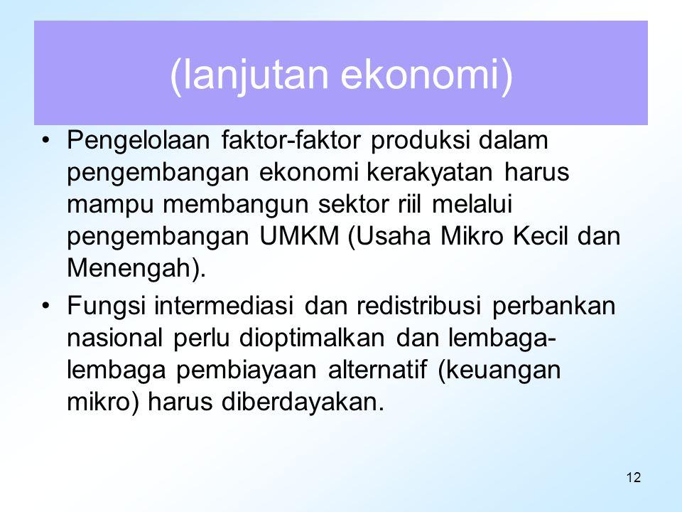 12 (lanjutan ekonomi) Pengelolaan faktor-faktor produksi dalam pengembangan ekonomi kerakyatan harus mampu membangun sektor riil melalui pengembangan