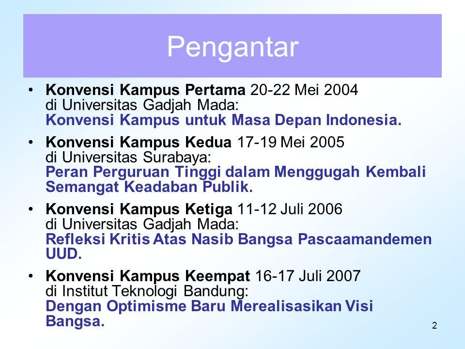 2 Pengantar Konvensi Kampus Pertama 20-22 Mei 2004 di Universitas Gadjah Mada: Konvensi Kampus untuk Masa Depan Indonesia. Konvensi Kampus Kedua 17-19