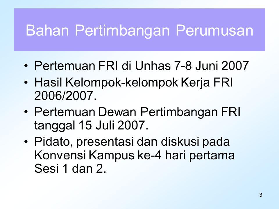 24 (lanjutan konstitusi) (3) Parlemen berupa sistem MPR dengan pilar utama DPR dan DPD (forum joint session); (4) Kelembagaan peradilan dengan dua puncak lembaga peradilan, yakni Mahkamah Agung dan Mahkamah Konstitusi, yang para hakimnya diawasi oleh Komisi Yudisial; (5) Pasal 18 perlu diperjelas rumusan pasalnya agar tidak menimbulkan kerancuan pembagian kewenangan antara pemerintah Pusat dan Daerah, dan memperjelas pemilihan kepala daerah; (6) UUD perlu mengadopsi penjelasan Pasal 33 UUD 1945 dalam muatan pasal perubahan secara jelas dan benar.