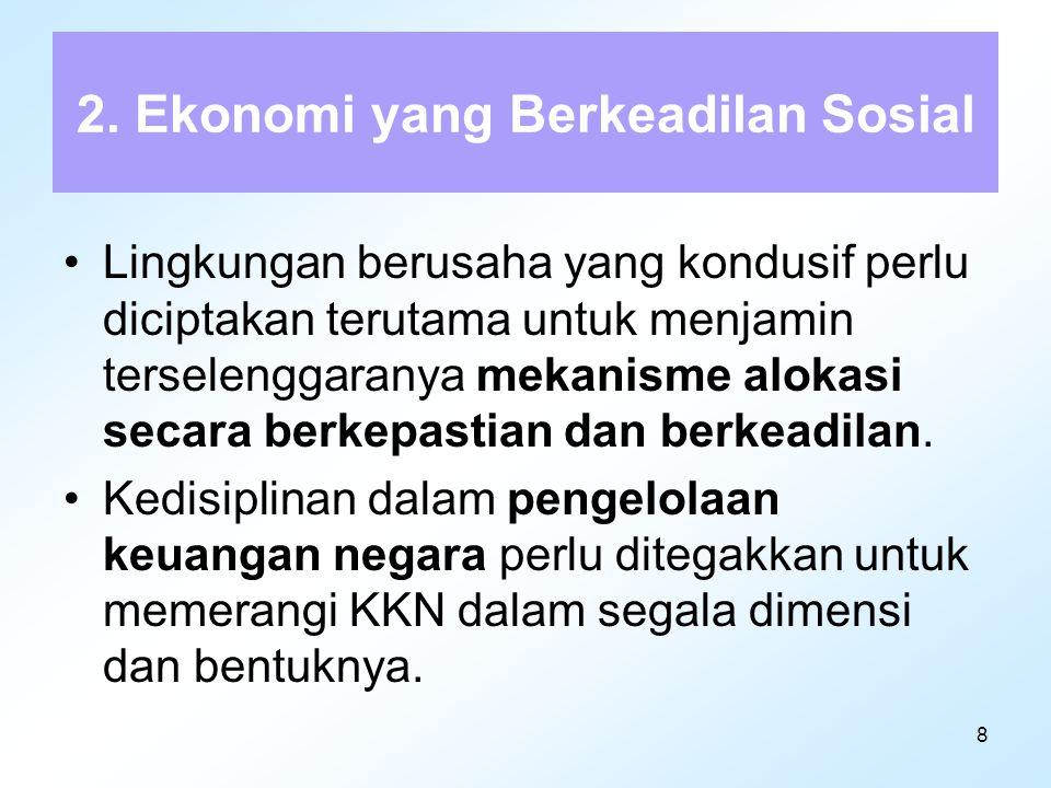 9 (lanjutan ekonomi) Hak-hak dasar para pekerja harus dijamin dan partisipasi dalam penyelenggaraan perusahaan perlu ditingkatkan dengan kepemilikan saham oleh pekerja.