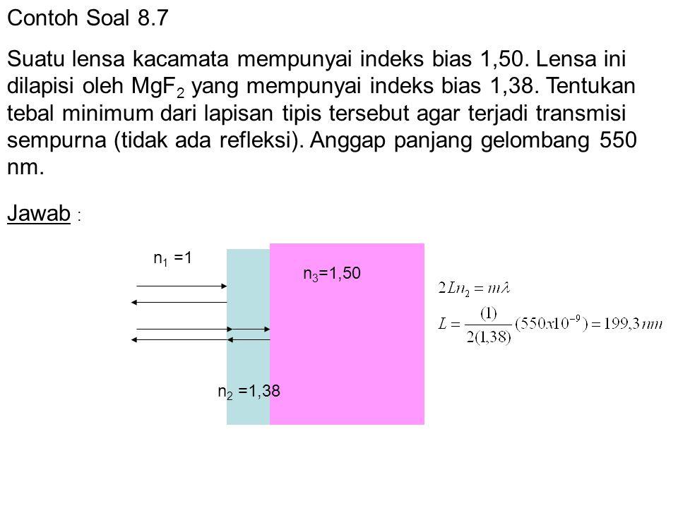Contoh Soal 8.7 Suatu lensa kacamata mempunyai indeks bias 1,50. Lensa ini dilapisi oleh MgF 2 yang mempunyai indeks bias 1,38. Tentukan tebal minimum