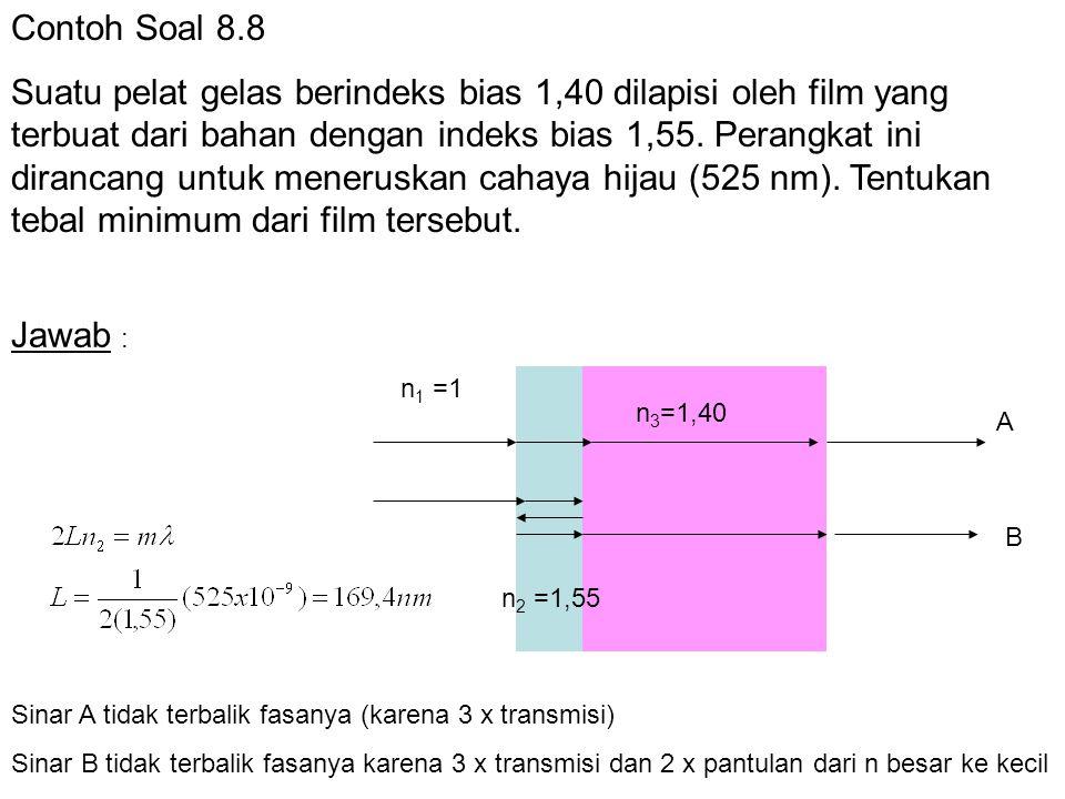 Contoh Soal 8.8 Suatu pelat gelas berindeks bias 1,40 dilapisi oleh film yang terbuat dari bahan dengan indeks bias 1,55. Perangkat ini dirancang untu