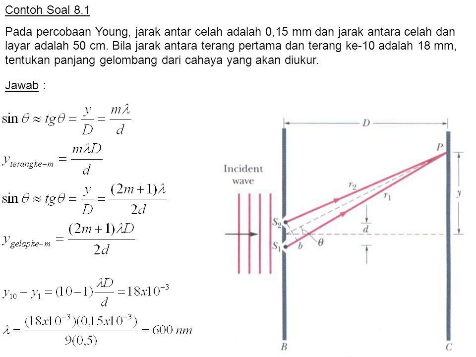 Contoh Soal 8.1 Pada percobaan Young, jarak antar celah adalah 0,15 mm dan jarak antara celah dan layar adalah 50 cm. Bila jarak antara terang pertama