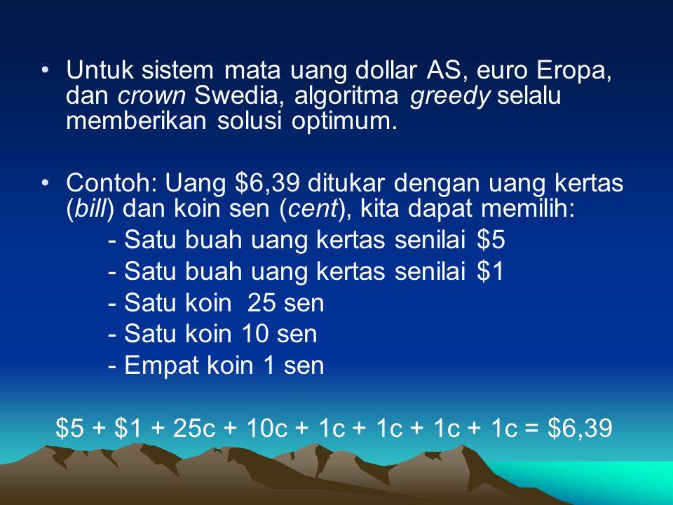 Untuk sistem mata uang dollar AS, euro Eropa, dan crown Swedia, algoritma greedy selalu memberikan solusi optimum. Contoh: Uang $6,39 ditukar dengan u