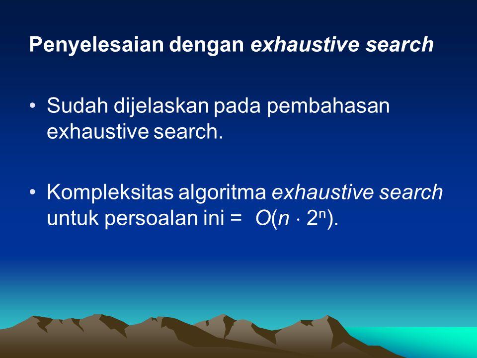 Penyelesaian dengan exhaustive search Sudah dijelaskan pada pembahasan exhaustive search. Kompleksitas algoritma exhaustive search untuk persoalan ini