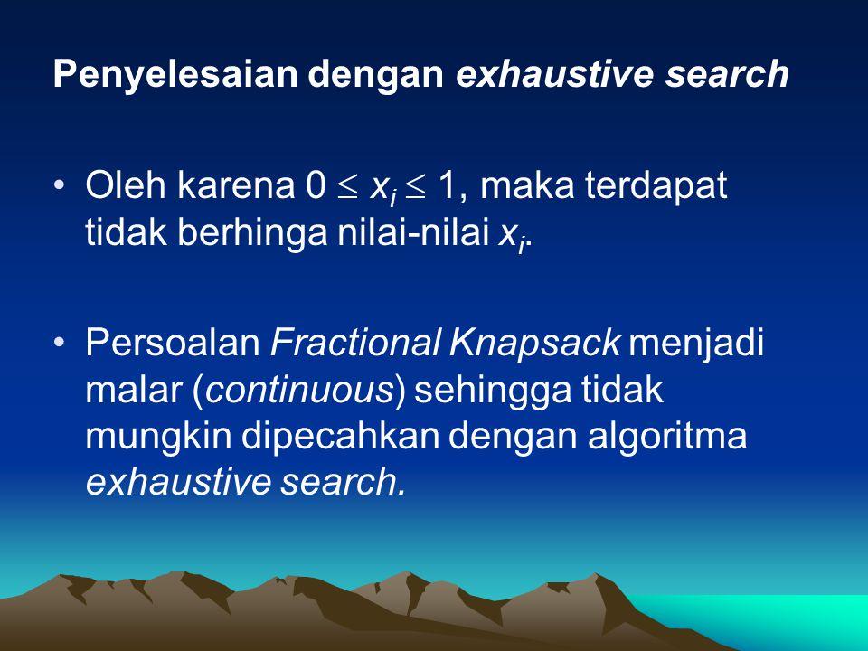 Penyelesaian dengan exhaustive search Oleh karena 0  x i  1, maka terdapat tidak berhinga nilai-nilai x i. Persoalan Fractional Knapsack menjadi mal