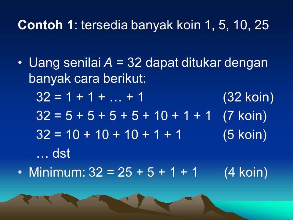 Contoh 1: tersedia banyak koin 1, 5, 10, 25 Uang senilai A = 32 dapat ditukar dengan banyak cara berikut: 32 = 1 + 1 + … + 1 (32 koin) 32 = 5 + 5 + 5
