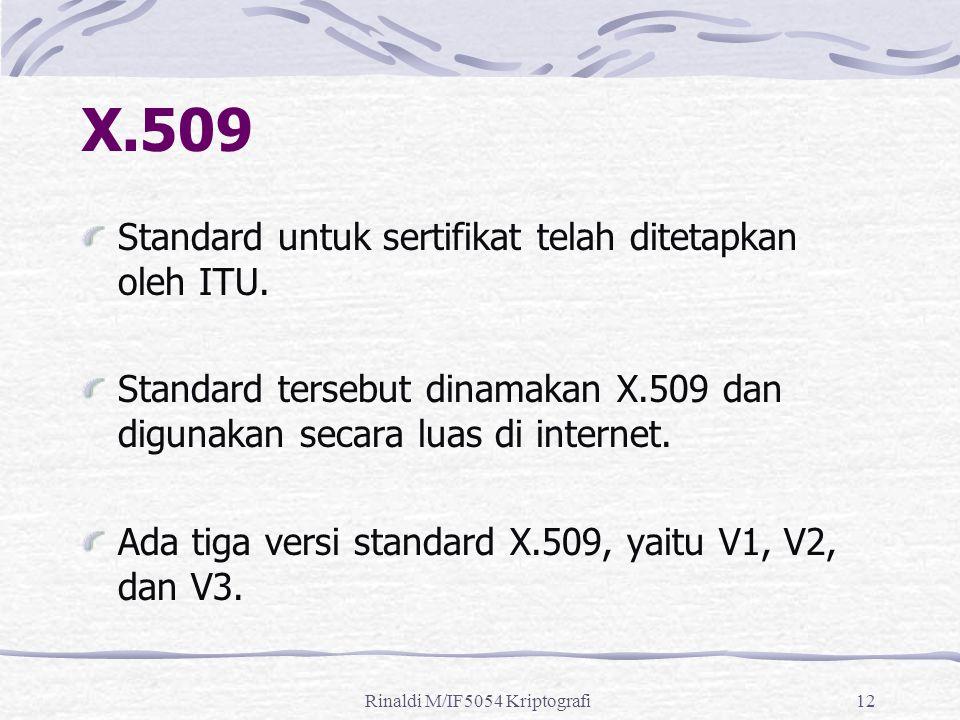 Rinaldi M/IF5054 Kriptografi12 X.509 Standard untuk sertifikat telah ditetapkan oleh ITU.