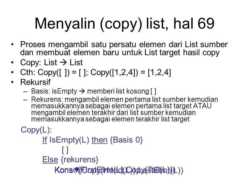 Menyalin (copy) list, hal 69 Proses mengambil satu persatu elemen dari List sumber dan membuat elemen baru untuk List target hasil copy Copy: List  L
