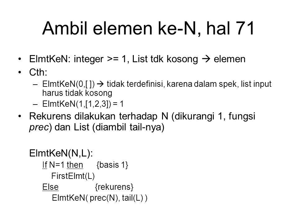 Ambil elemen ke-N, hal 71 ElmtKeN: integer >= 1, List tdk kosong  elemen Cth: –ElmtKeN(0,[ ])  tidak terdefinisi, karena dalam spek, list input haru